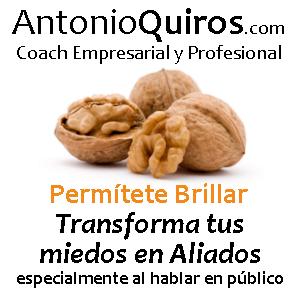 AntonioQuiros, también conocido por www.ElCoachDeLasNueces.com, pues al igual que una nuez se puede transformar en un maravilloso nogal (si se dan las condiciones adecuadas), él proporciona las condiciones adecuadas para que las personas puedan transformarse, y así desarrollar sus competencias de liderazgo, comunicación y hablar en público.